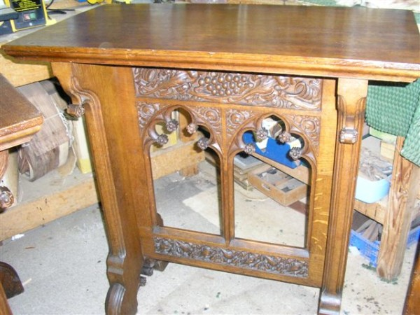 ORNATE TABLE BEING RESTORED